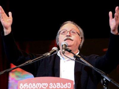 Grigol Vachadzé, candidat de l'opposition s'adresse à ses partisans à Tbilissi, le 29 novembre 2018 - Vladimir VALISHVILI [AFP]
