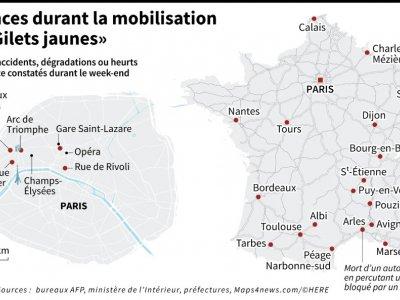 """Violences durant la mobilisation des """"Gilets jaunes""""     [AFP]"""