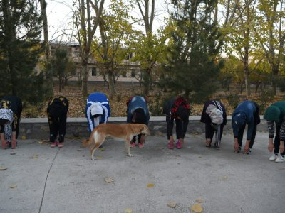 Séance de stretching d'Afghanes membres de Free to Run, qui courent ensemble, le 4 novembre 2018 à Kaboul