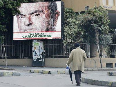 Un portrait de Carlos Ghosn sur une affiche à Berouth le 6 décembre 2018    JOSEPH EID [AFP/Archives]