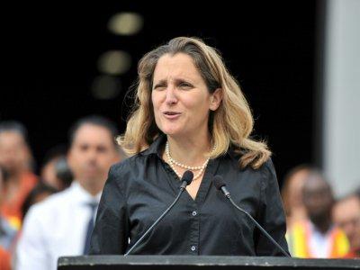 Chrystia Freeland, la cheffe de la diplomatie canadienne, à Richmond, en Colombie-Britannique, le 24 août 2018    Don MacKinnon [AFP/Archives]