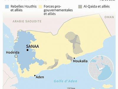 Carte montrant le contrôle des territoires au Yémen au 16 décembre 2018     [AFP]