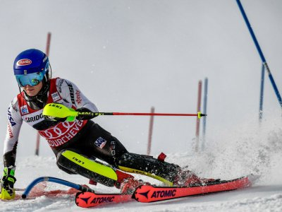 L'Américaine Mikaela Shiffrin remporte le slalom de Courchevel le 22 décembre 2018    JEFF PACHOUD [AFP]