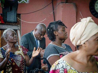 L'opposant congolais Martin Fayulu (c), le 9 janvier 2019 àç Kinshasa, en RDC    Caroline Thirion [AFP]