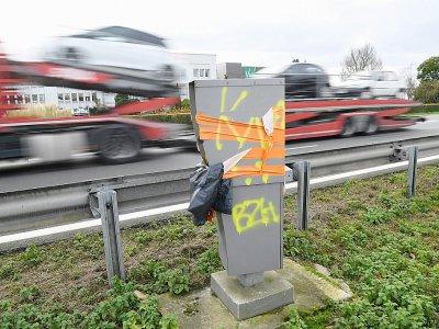 Un radar dégradé à Noyal-sur-Vilaine (Ille-et-Vilaine), le 8 janvier 2019    Damien MEYER [AFP/Archives]