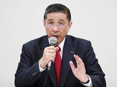 Hiroto Saikawa, président de Nissan lors d'une conférence de presse, à Yokohama, le 17 décembre 2018    Behrouz MEHRI [AFP]