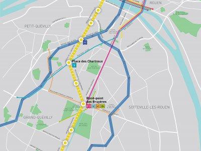 Le tracé de la T4. - Métropole Rouen Normandie