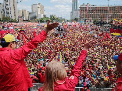 Nicolas Maduro a rassemblé ses partisans le 2 février 2019 à Caracas. PHOTO / VENEZUELAN PRESIDENCY - HO [Venezuelan Presidency/AFP/Archives]