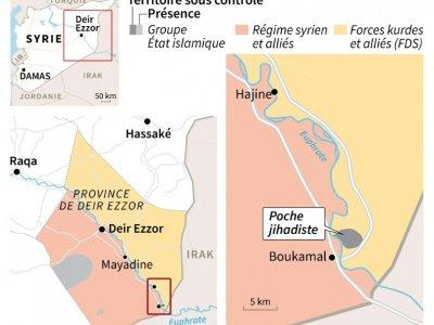 Carte représentant les zones de contrôle dans l'est de la Syrie au 8 février     [AFP]
