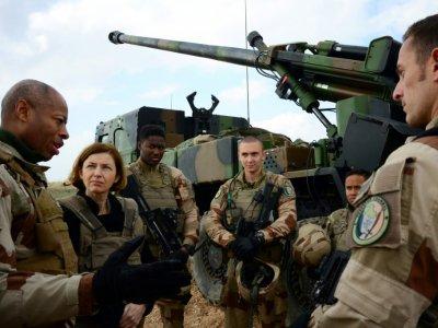 Le général français Jean-Marc Vigilant (G) et la ministre française des Armées Florence Parly (2e G) parlent à des soldats prenant part à l'opération Chammal (volet français de l'opération menée par la coalition internationale contre le groupe jihadi    Daphné BENOIT [AFP]