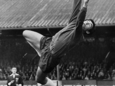 Le gardien de but de Stoke City Gordon Banks en action, le 15 décembre 1969 à Stoke