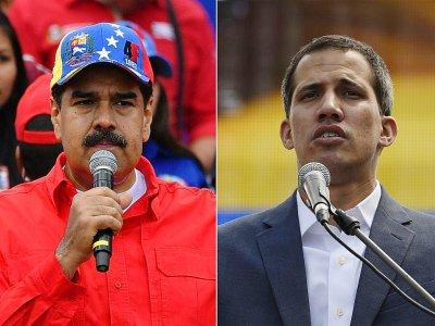 Le président vénézuélien Nicolas Maduro (à gauche) et l'opposant et président autoproclamé Juan Guaido    Yuri CORTEZ, Juan BARRETO [AFP]
