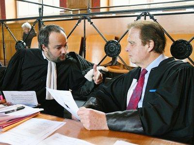 Guy Debuisson (D) et Pierre Debuisson, avocats de Laurent Dejean, accusé du meurtre de Patricia Bouchon, tuée lors d'un jogging, à la cour d'assises de la Haute-Garonne à Toulouse, le 14 mars 2019    PASCAL PAVANI [AFP]