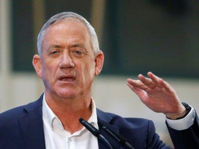 Benny Gantz, principal concurrent de Benjamin Netanyahu aux élections législatives israéliennes, le 6 avril 2019 à Rosh Haayin (Israël) - JACK GUEZ [AFP]
