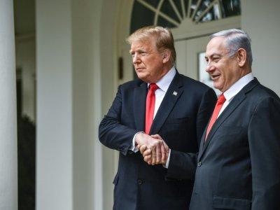 Le président américain Donald Trump (g) et le Premier ministre israélien Benjamin Netanyahu, le 25 mars 2019 à la Maison Blanche, à Washington - Brendan Smialowski [AFP/Archives]
