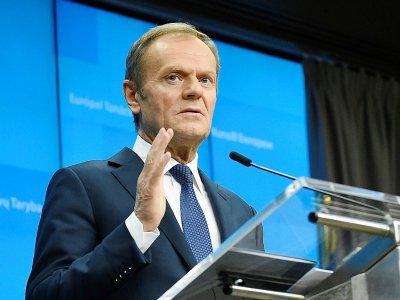 Le président du Conseil européenDonald Tusk lors d'un sommet européen à Bruxelles le 22 mars 2019 - JOHN THYS [AFP/Archives]