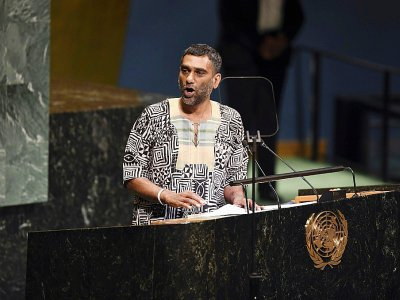 Kumi Naidoo, secrétaire général d'Amnesty International, le 24 septembre 2018 aux Nations unies à New York