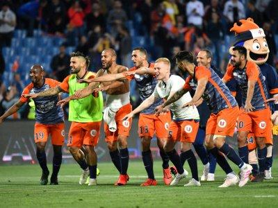 Les joueurs de Montpellier en liesse après leur victoire à domicile sur le PSG le 30 avril 2019    Pascal GUYOT [AFP]