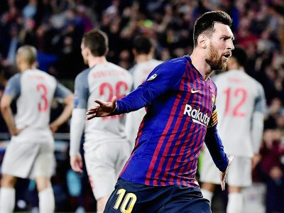 Lionel Messi après son 3e but contre Liverpool, le 1er mai 2019 à Barcelone
