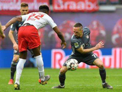 Le milieu de terrain du Bayern Munich Franck Ribéry (d) lors du match nul 0-0 à Leipzig le 11 mai 2019    John MACDOUGALL [AFP]