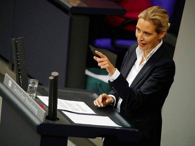 Alice Weidel, codirigeante du groupe parlementaire de l'AfD, au Parlement allemand le 16 mai 2019    Odd ANDERSEN [AFP]