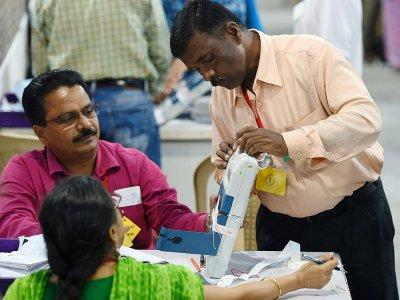 Décompte des votes aux législatives, le 23 mai 2019 à Bombay, en Inde - PUNIT PARANJPE [AFP]