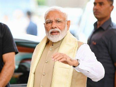 Le Premier ministre indien Narendra Modi, le 21 mai 2019 au siège du parti BJP à New Delhi - Prakash SINGH [AFP]