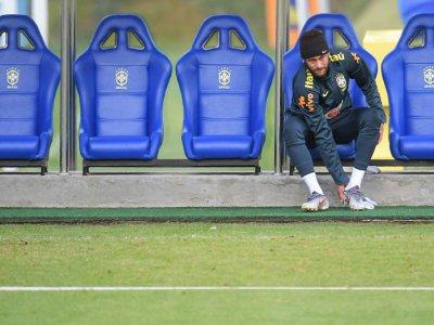 Neymar à l'entraînement le 4 juin 2019 à Teresopolis, dans l'Etat de Rio de Janeiro    CARL DE SOUZA [AFP]