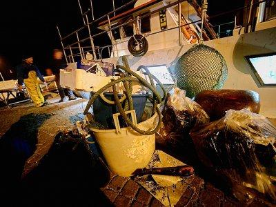 Du plastique et d'autres déchets récoltés dans les filets de pêcheurs italiens et rapportés à terre, le 23 mai 2019 au large de San Benedetto del Tronto    Filippo MONTEFORTE [AFP]