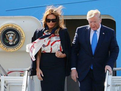 Donald et Melania Trump arrivent à l'aéroport de Stansted (Royaume-Uni), le 3 juin 2019 - Isabel Infantes [AFP/Archives]