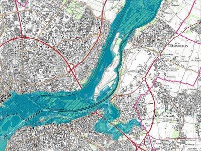 La carte des zones à risque d'inondation dans la basse vallée de l'Orne    IGN / Géorisques.gouv
