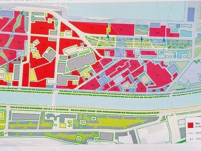 Le plan des transparences hydrauliques du futur quartier    Caen Presqu'île
