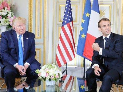 Les présidents américain Donald Trump et français Emmanuel Macron, le 6 juin 2019 à Caen (France) - ludovic MARIN [POOL/AFP/Archives]