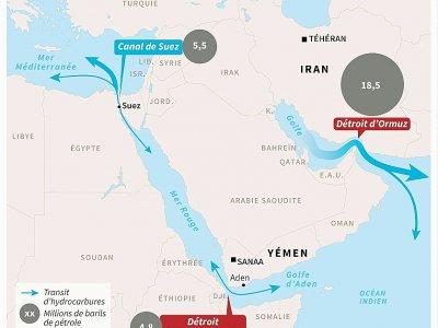 Carte du Moyen-Orient montrant les détroits d'Ormuz et de Bab el-Mandeb - Sophie RAMIS [AFP]
