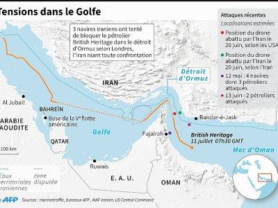 Carte des récentes tensions dans le Golfe - Vincent LEFAI [AFP]