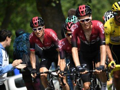 L'équipe Ineos avec Geraint Thomas (2d) lors de la 18e étape du Tour de France entre Toulouse et Bagnères-de-Bigorre, le 18 juillet 2019    JEFF PACHOUD [AFP/Archives]