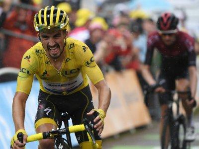 Le porteur du maillot jaune, le Français Julian Alaphilippe, à l'arrivée de la 15e étape du Tour de France, le 21 juillet 2019 à  Foix Prat d'Albis    JEFF PACHOUD [AFP]