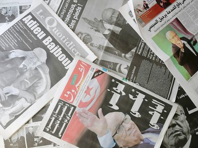 Des Unes de journaux tunisiens après la mort du président Béji Caïd Essebsi, le 26 juillet 2019    FETHI BELAID [AFP]