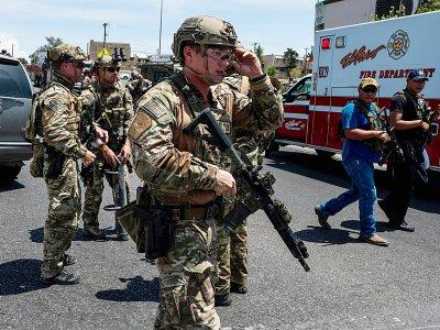 Des forces de l'ordre déployés à El Paso à la suite d'une fusillade, le 3 août 2019 dans cette ville du Texas - Joel Angel JUAREZ [AFP]