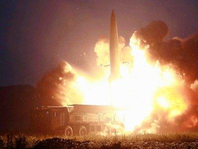 Image de l'agence officielle nord-coréenne KCNA montrant le lancement d'un missile le 6 août 2019    KCNA VIA KNS [KCNA VIA KNS/AFP/Archives]