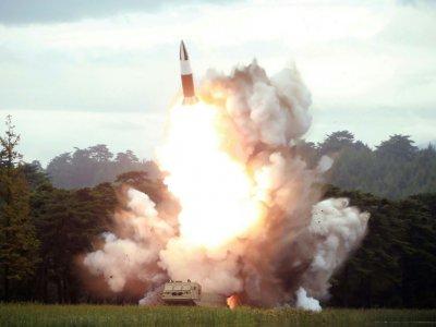 Lancement d'une nouvelle arme nord-coréenne le 16 août 2019, lieu non indiqué (AFP PHOTO/KCNA VIA KNS)    KCNA VIA KNS [KCNA VIA KNS/AFP]