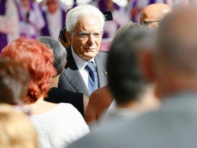 Le président italien Sergio Mattarella, à Gênes le 14 août 2019    Alberto PIZZOLI [AFP/Archives]