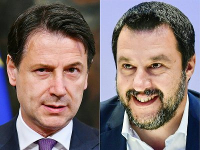 Le Premier ministre italien sortant Giuseppe Conte (G), à Rome le 3 juin 2019, et le ministre sortant de l'Intérieur Matteo Salvini (D), à Milan le 8 avril 2019    Alberto PIZZOLI, Miguel MEDINA [AFP/Archives]