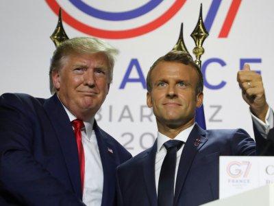 Les présidents américain Donald Trump et français Emmanuel Macron lors d'une conférence de presse à l'issue du G7, le 26 août 2019 à Biarritz    ludovic MARIN [AFP]