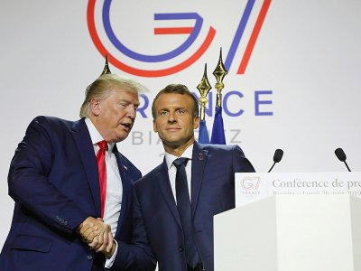 Les présidents américain et français Donald Trump et Emmanuel Macron lors d'une conférence de presse commune le 26 août 2019 à Biarritz (France)    ludovic MARIN [AFP]