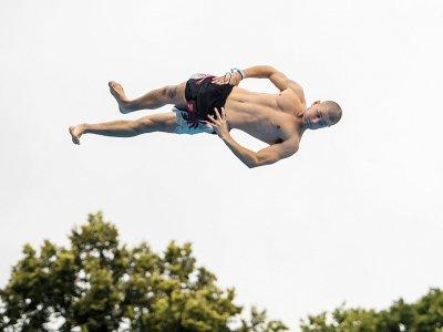 """Un saut le 17 août 2019 au """"championnat du monde de dods"""" à Oslo    FREDRIK VARFJELL [AFP]"""