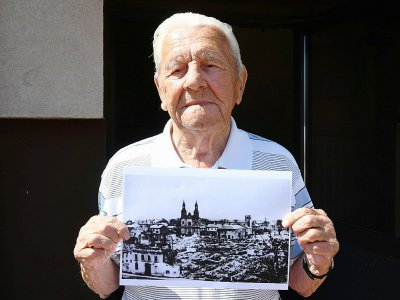 Tadeusz Sierandt, témoin du bombardement de la ville de Wielun en Pologne, le 20 août 2019 - Janek SKARZYNSKI [AFP/Archives]