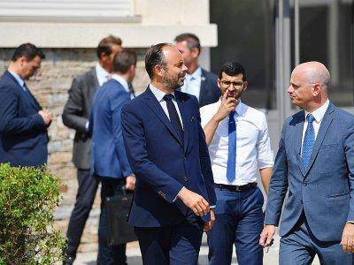 Le Premier ministre Edouard Philippe et le ministre de l'Education Jean-Michel Blanquer le 30 août 2019 dans un lycée du sud-est de la France pour la rentrée des professeurs    Yann COATSALIOU [AFP/Archives]