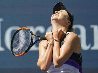 Elina Svitolina célèbre sa victoire sur Johanna Konta en quarts de finale de l'US Open, le 3 septembre 2019 à New York.    Kena Betancur [AFP]