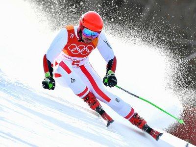 Marcel Hirscher sur la piste du combiné de slalom lors des Jeux d'hiver de Pyeongchang, le 18 février 2018 - Fabrice COFFRINI [AFP/Archives]